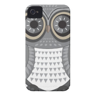 Grande gris de Blackberry del búho iPhone 4 Carcasa