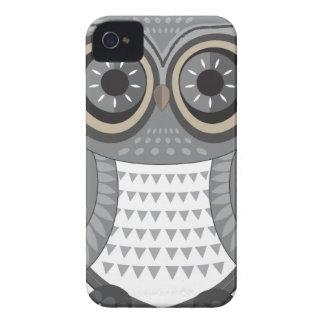 Grande gris de Blackberry del búho iPhone 4 Case-Mate Protectores