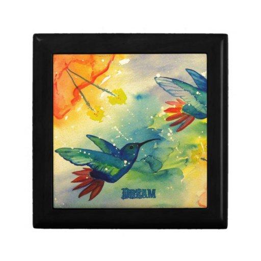 ¡Grande ideal! Pintura de la acuarela del colibrí Caja De Joyas