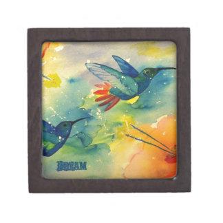 ¡Grande ideal! Pintura de la acuarela del colibrí Caja De Regalo De Calidad