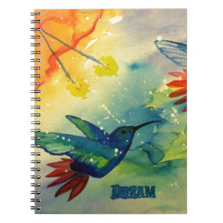 ¡Grande ideal! Pintura de la acuarela del colibrí Note Book