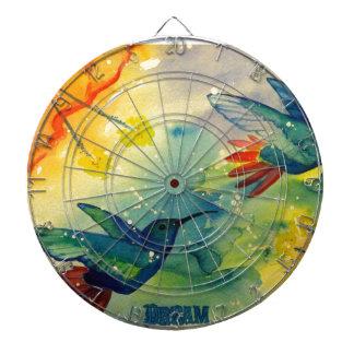 ¡Grande ideal Pintura de la acuarela del colibrí Tabla Dardos