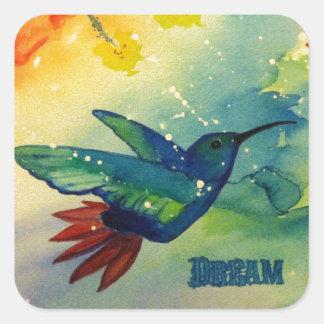 ¡Grande ideal! Pintura de la acuarela del colibrí Pegatina Cuadrada