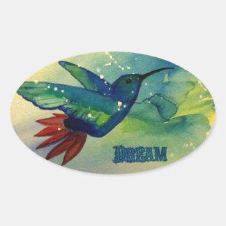 ¡Grande ideal! Pintura de la acuarela del colibrí Pegatina Ovalada
