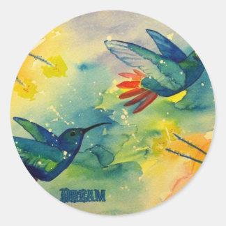 ¡Grande ideal! Pintura de la acuarela del colibrí Pegatina Redonda