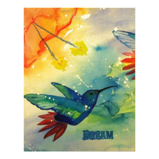 ¡Grande ideal! Pintura de la acuarela del colibrí Plantillas De Membrete