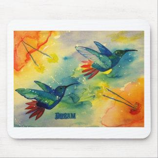 ¡Grande ideal! Pintura de la acuarela del colibrí Tapete De Ratones