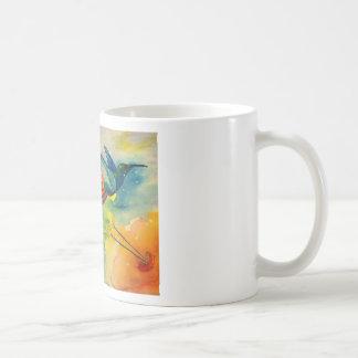 ¡Grande ideal! Pintura de la acuarela del colibrí Taza Básica Blanca