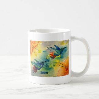 ¡Grande ideal! Pintura de la acuarela del colibrí Tazas De Café