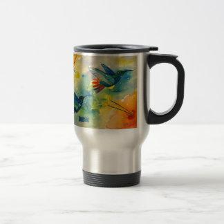¡Grande ideal! Pintura de la acuarela del colibrí Taza De Viaje