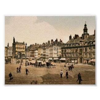 Grande lugar del La, vintage Photochrom de Lille,  Póster