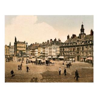 Grande lugar del La, vintage Photochrom de Lille,  Postal