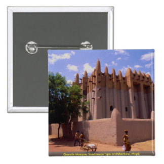 Grande Mosque, Sundanese type architecture, Mopti, Pinback Buttons