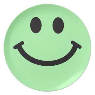 Grande palidezca - la placa frontal sonriente verd platos para fiestas