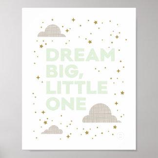 Grande, pequeño el ideal en verde menta póster