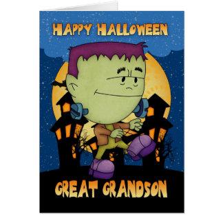 grande - tarjeta de Halloween del nieto con el sto