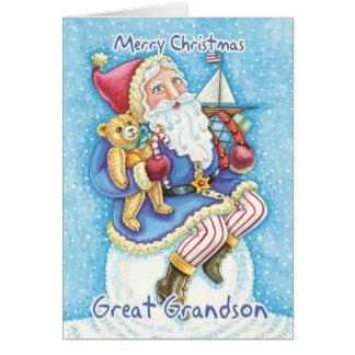 Grande - tarjeta de Navidad del nieto con Santa li
