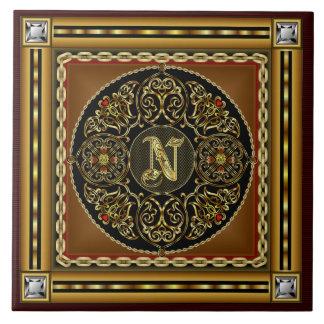 Grande vista mejor superior del monograma de N. Azulejo Cuadrado Grande