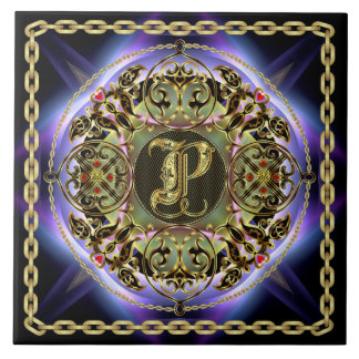 Grande vista mejor superior del monograma de P. Azulejo Cuadrado Grande