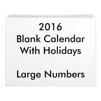 Grandes 2016 grandes números de los días de fiesta calendario de pared