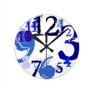 Grandes al azar (azul) reloj de pared