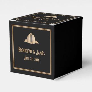 Grandes cajas negras del favor del boda de Gatsby Cajas Para Regalos