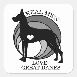 Grandes daneses del amor real de los hombres pegatina cuadrada