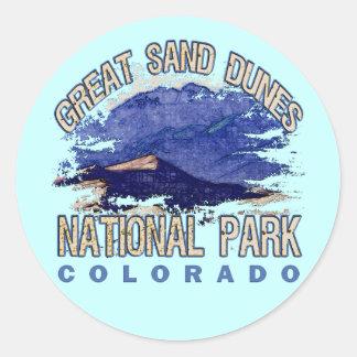 Grandes dunas de arena parque nacional, Colorado Pegatina Redonda