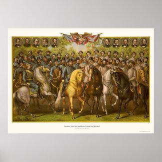 Grandes generales 1865 de la unión y del confedera impresiones