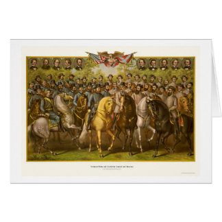 Grandes generales 1865 de la unión y del tarjeta de felicitación