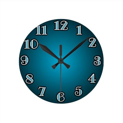 Grandes números azules reloj redondo mediano