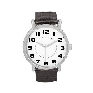 Grandes números blancos y negros simples fáciles l relojes de pulsera