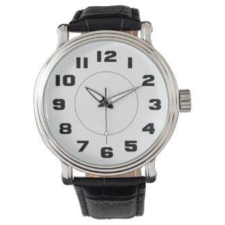 Grandes números blancos y negros simples fáciles reloj de mano