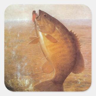 Grandes pescados pegatina cuadrada