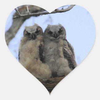 Grandes polluelos del búho de cuernos pegatina en forma de corazón