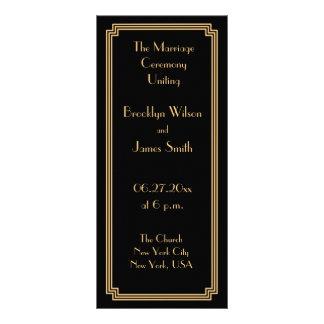 Grandes programas del boda del negro del oro del tarjeta publicitaria a todo color