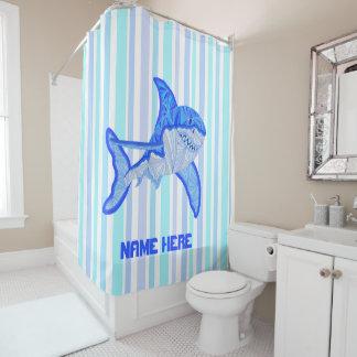 Grandes rayas coloridas del mar del tiburón blanco cortina de baño