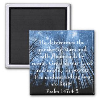 Grandes son nuestros salmos del verso de la biblia imán cuadrado