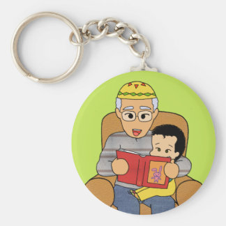 Grandfather and grandson basic round button keychain