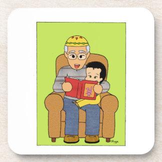 Grandfather and grandson beverage coaster