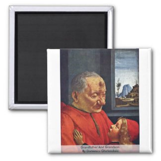 Grandfather And Grandson By Domenico Ghirlandaio 2 Inch Square Magnet