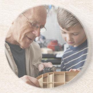 Grandfather And Grandson Work Together Sandstone Coaster