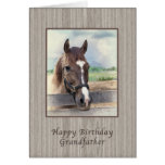 Grandfather, Birthday, Brown Horse with Bridle Greeting Card