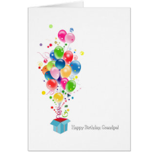 Grandfather Birthday Cards Colorful Balloons Burst
