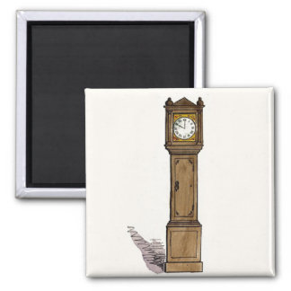 Grandfather Clock 2 Inch Square Magnet