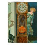 Grandfather Clock Black Cat Witch Pumpkin Card