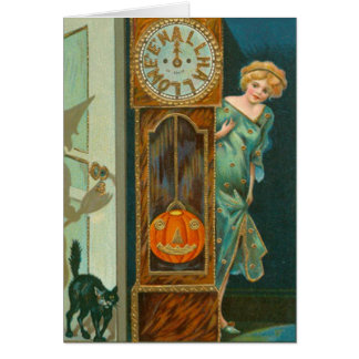 Grandfather Clock Black Cat Witch Pumpkin Card