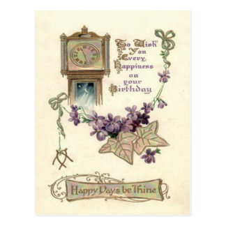 Grandfather Clock Forget-Me-Not Leaves Postcard