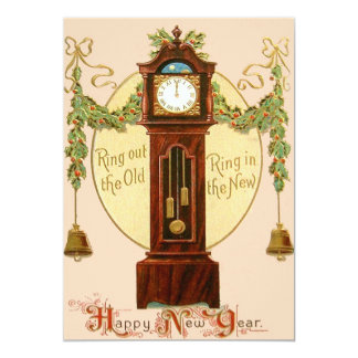 Grandfather Clock Holly Mistletoe Bell Card