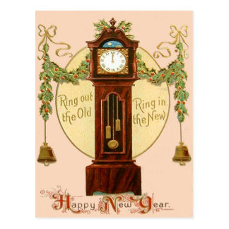 Grandfather Clock Holly Mistletoe Bell Postcard